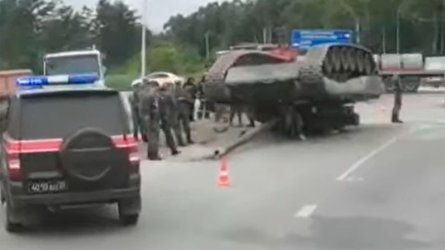 tank fell on the road